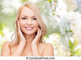 beautiful young woman face - beauty, people, summer, spring...