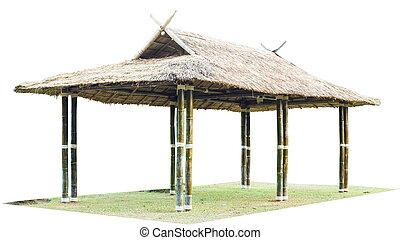 Thailand bamboo pavilion isolate on white background.