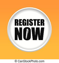 Register now design - Register now design over yellow...