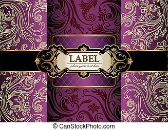 Vintage gold frame on violet floral background. Vector...
