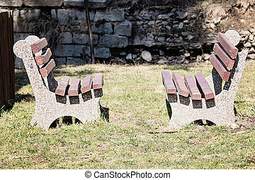 Empty Wooden Bench In The Park - Empty wooden bench in the...