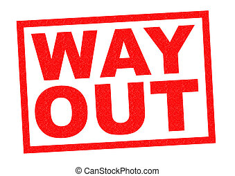 WAY OUT red Rubber Stamp over a white background.