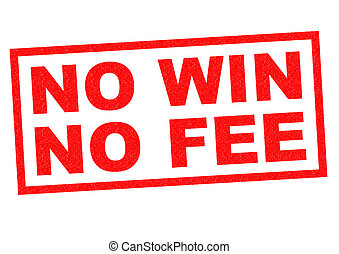 NO WIN NO FEE red Rubber Stamp over a white background