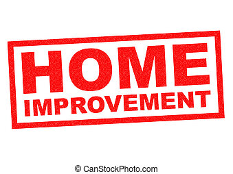 HOME IMPROVEMENT red Rubber Stamp over a white background