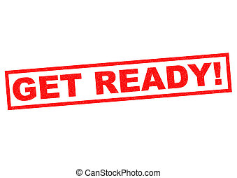 GET READY red Rubber Stamp over a white background