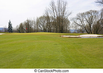 golf course - Fayirway of golf course with sand traps