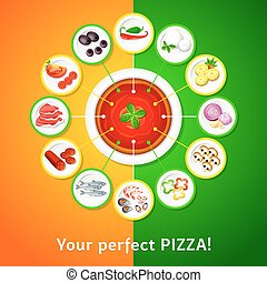 Pizza toppings - Colorful toppings for perfect pizza choice
