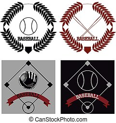 Baseball - Set of baseball icons with text Vector...