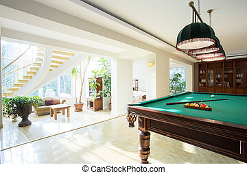 Pool table - Big pool table in spacious living room