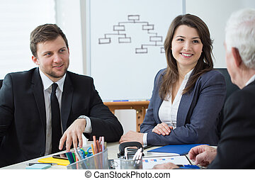 Business partners during conference - Horizontal view of...