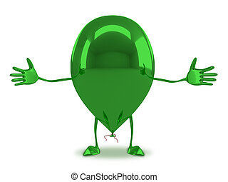 Green glossy balloon character - Welcoming funny green...