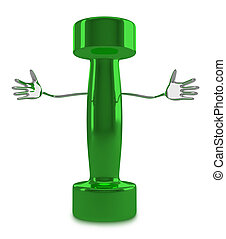 Green dumbbell character - Welcoming glossy green dumbbell...