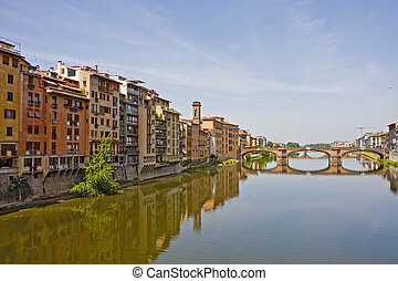 Buildings and Bridge on Arno River - Colorful Buildings...