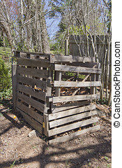 Compost Bin Made From Recycled Wood - A rickety, home made...
