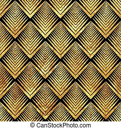 art deco golden sealless pattern - Vector illustration of...
