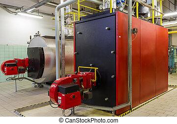 Gas boilers in gas boiler room