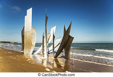 Omaha Beach - the memorial on Omaha Beach in Normandy,...