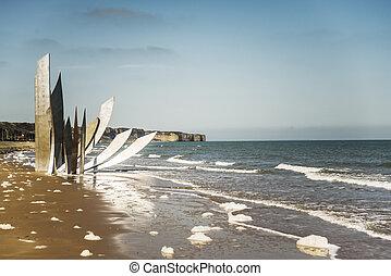 Omaha Beach - the memorial on Omaha Beach in Normandy,...