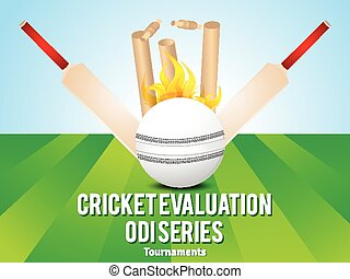 cricket background with fire ball