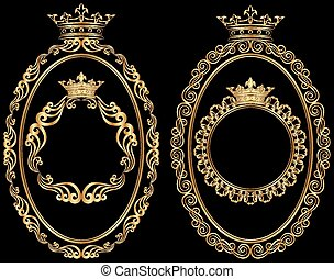 frames - set of golden borders with crown