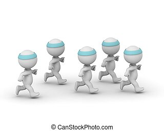 Several 3D Characters Jogging - Several 3D characters with...