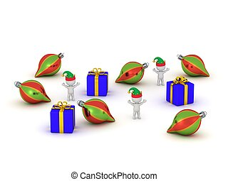 3D Charcters with Elf Hats, Gifts,