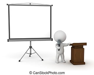 3D Character Public Speaker with Pr - 3D character with...
