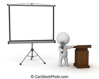 pr, orador, carácter, público,  3D