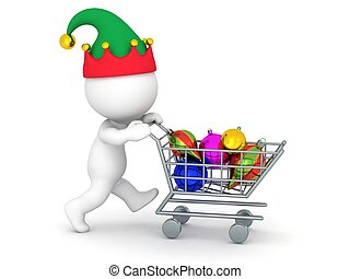 3D Character with Shopping Cart Buy - 3D character with elf...