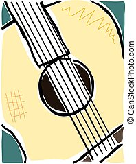 Sketchy accoustic guitar - Sketchy image of the centre of an...