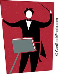 Conductor - A conducter dressed in black against a red...