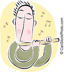 Flute player - A cartoon type image of a flute player.