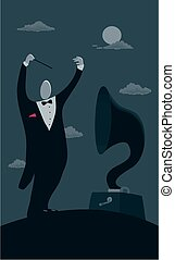 Moonlight concerto - A surrealist image of a man conducting...