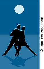 Moonlight tango - Sillhouette dancers in front of a blue...