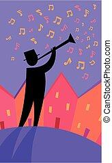 Whimsical trumpeter