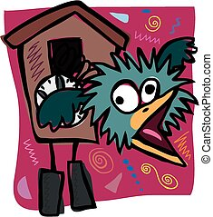 Zany cuckoo clock - A cartoon image of a crazy cuckoo clock