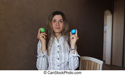 Beautiful woman with easter eggs - Beautiful spring woman...