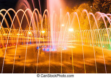 Evening city fountain in Kharkov, HTZ district