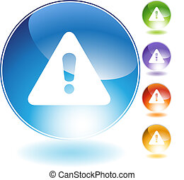 warning crystal icon isolated on a white background