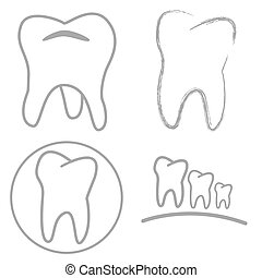 Tooth sign icon. Dental care symbol. Circle and square...