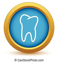 Gold tooth icon on a white background. Vector illustration