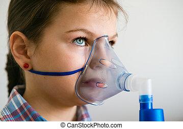 girl with asthma inhaler - Girl with asthma inhaler Girl...