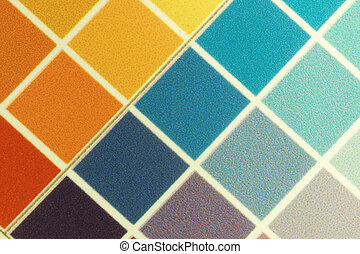 test print, yellow, orange, cyan, violet - Close-up of a a...