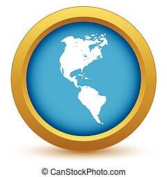 Gold continent America icon