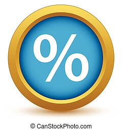 Gold percentage icon on a white background. Vector...