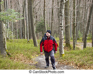 A man walks through the woods. - The man with the backpack...
