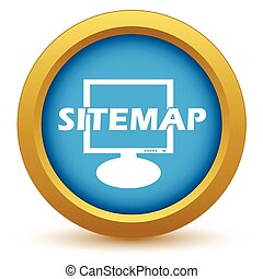Gold sitemap icon on a white background. Vector illustration