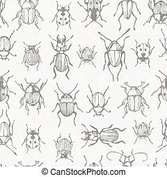 Seamless monochrome pattern with bugs. EPS 10 vector.