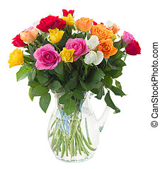 bouquet of fresh roses - bouquet of pink, yellow, orange,...