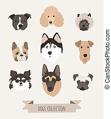Vector set dogs - Set of different dogs head drawn in...